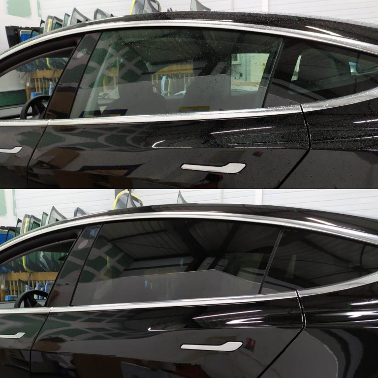 Avant/après vitres teintées Tesla